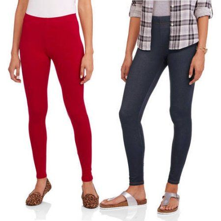 0334c94d437d0 Faded Glory Women's Essential Leggings, 2-Pack, Size: Medium, Red ...