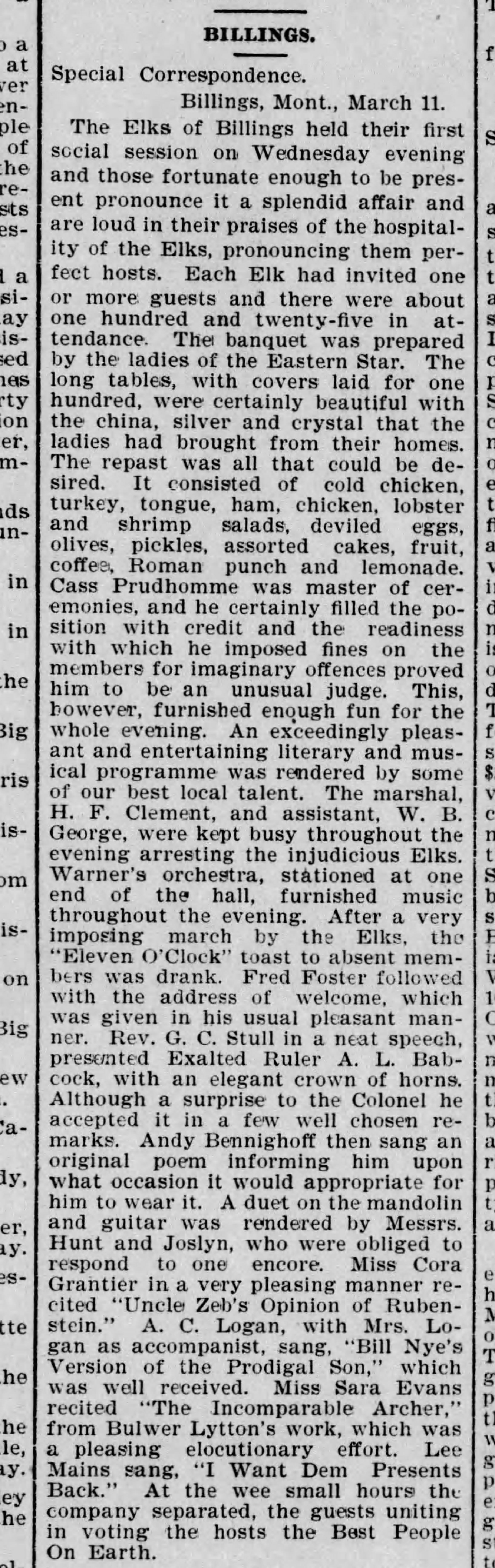 March 12 1898 In The Butte Miner Newspaper Lists Quite A Buffet This Is What People Did Before Radio And Tv Lol Elk Words Hold On