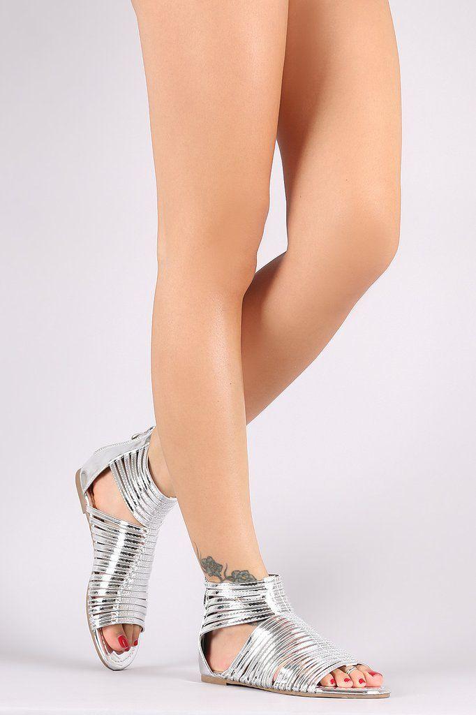 3dba272e5c35 Liliana Mirror Metallic Strappy Open Toe Gladiator Flat Sandal ...