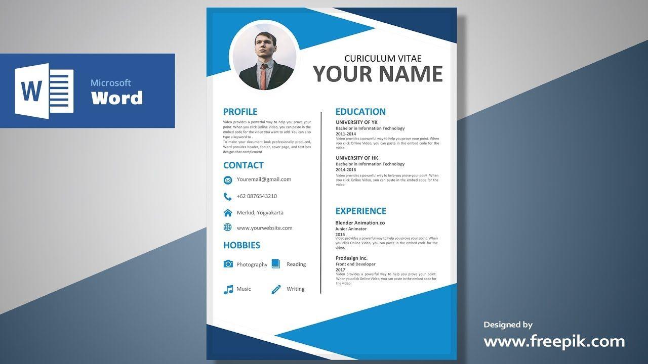 Awesome Blue Resume Design Tutorial In Microsoft Word Silent Version Resume Design Clean Resume Design Resume Template
