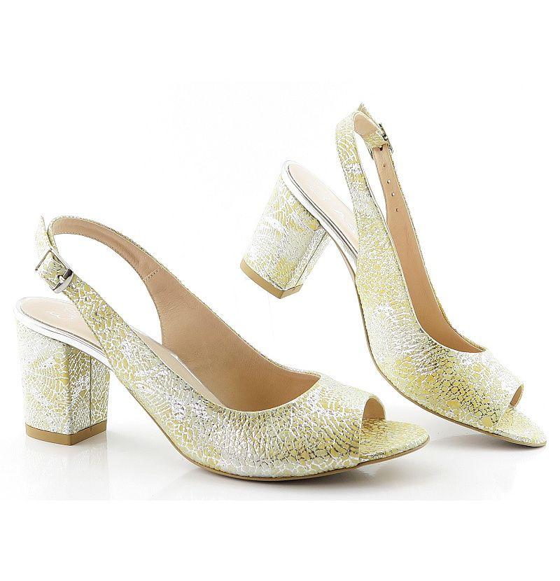 43fcb3ffe2 Dámske žlto-strieborné sandálky ASPENA