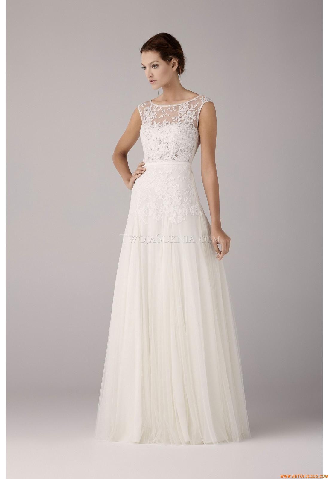 b490eba194 A-Miarka tiul prosta linia mody ślubnej sukni +2014 Internecie ...