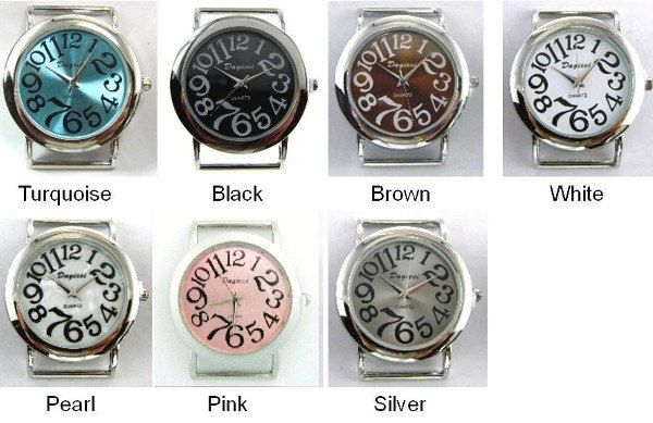 Beautiful Ribbon Watch Faces with Large Numbers for making interchangeable beaded Bands by PlanetZia on Etsy