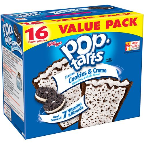 Kellogg's Frosted Cookies & Creme Pop-Tarts, 16 ct (00038000435188) Kellogg's Frosted Cookies & Creme Pop-Tarts, 16 ct: Family pack Naturally and artificially flavored Includes 16 toaster pastries Good source of six vitamins and minerals Frosted Cookies & Creme