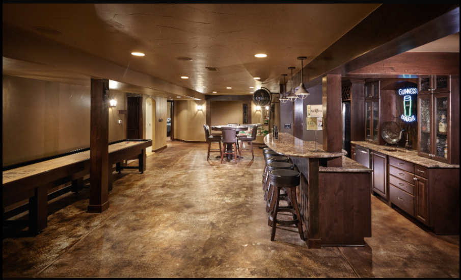 Stained Concrete Basement Floor Basement In 2019
