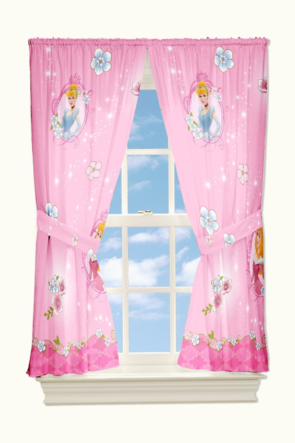Perfect Sweet Pink Bedroom Curtains For Girls Bedroom Accessories : Lovely Disney  Dainty Princess Pink Bedroom Curtain