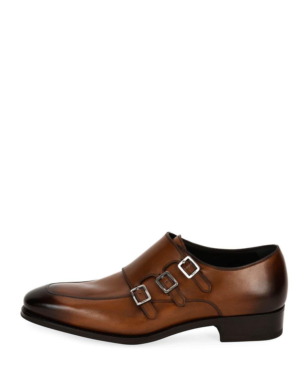 f9be20df5 Salvatore Ferragamo Triple-Monk Leather Shoe