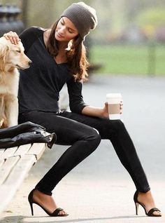 Beanie/leather leggings/black tee/black heels  & cute pup