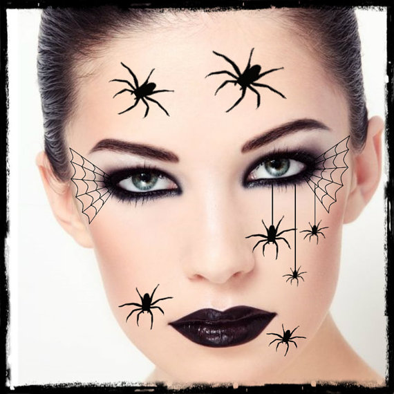 temporary tattoo spider halloween costume face spiders fake tattoos realistic thin durable. Black Bedroom Furniture Sets. Home Design Ideas