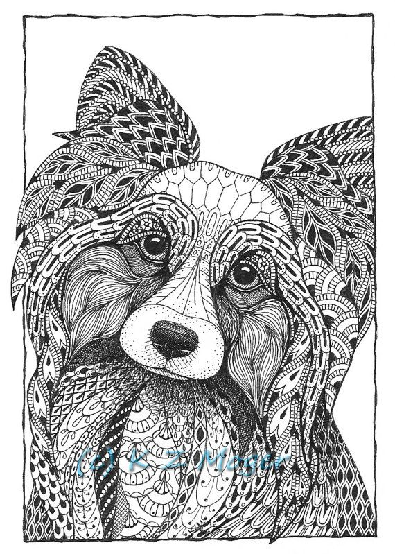 Small Breed Dog Portraits Matted Print Of Original Drawing Select Small Breeds Dog Coloring Page Whimsical Dog Portraits Dog Portraits