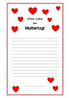 Arbeitsblatt Brief Zum Muttertag Schreiben Grusse Zum Muttertag Alles Liebe Zum Vatertag Muttertag