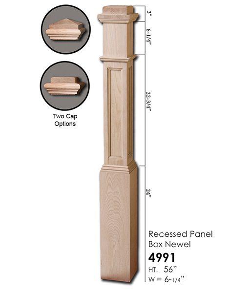 4991 Recessed Panel Box Newel Newel Posts Stair Remodel Red Oak