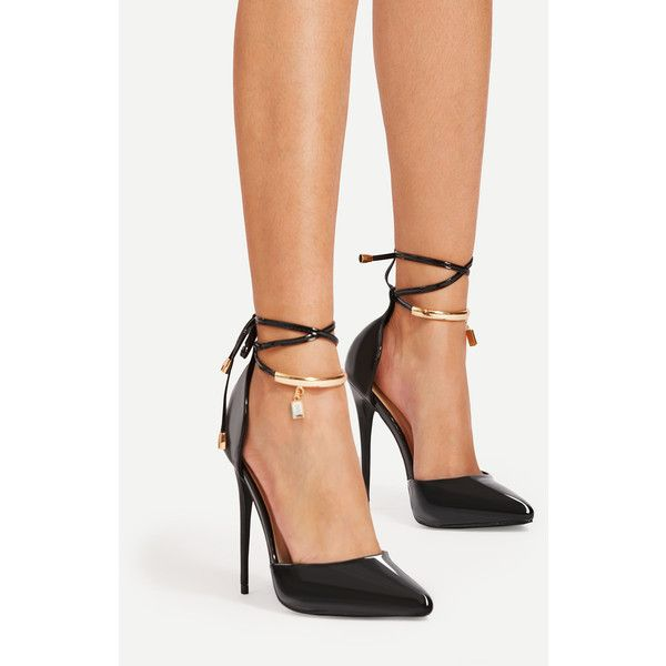 169aef6174 Toe Shoes · Ankle Strap · SheIn(sheinside) Stiletto Lace Up Pointed Toe  Heels ($32) ❤ liked on