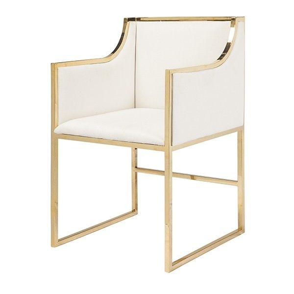 This Lovely Occasional Chair Features A Brass Frame With White Velvet  Upholstery. Perfect For Any