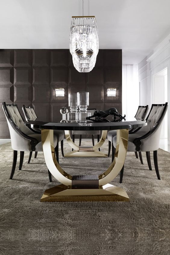 Italian Black Lacquered Gold Oval Dining Set Dining Tables