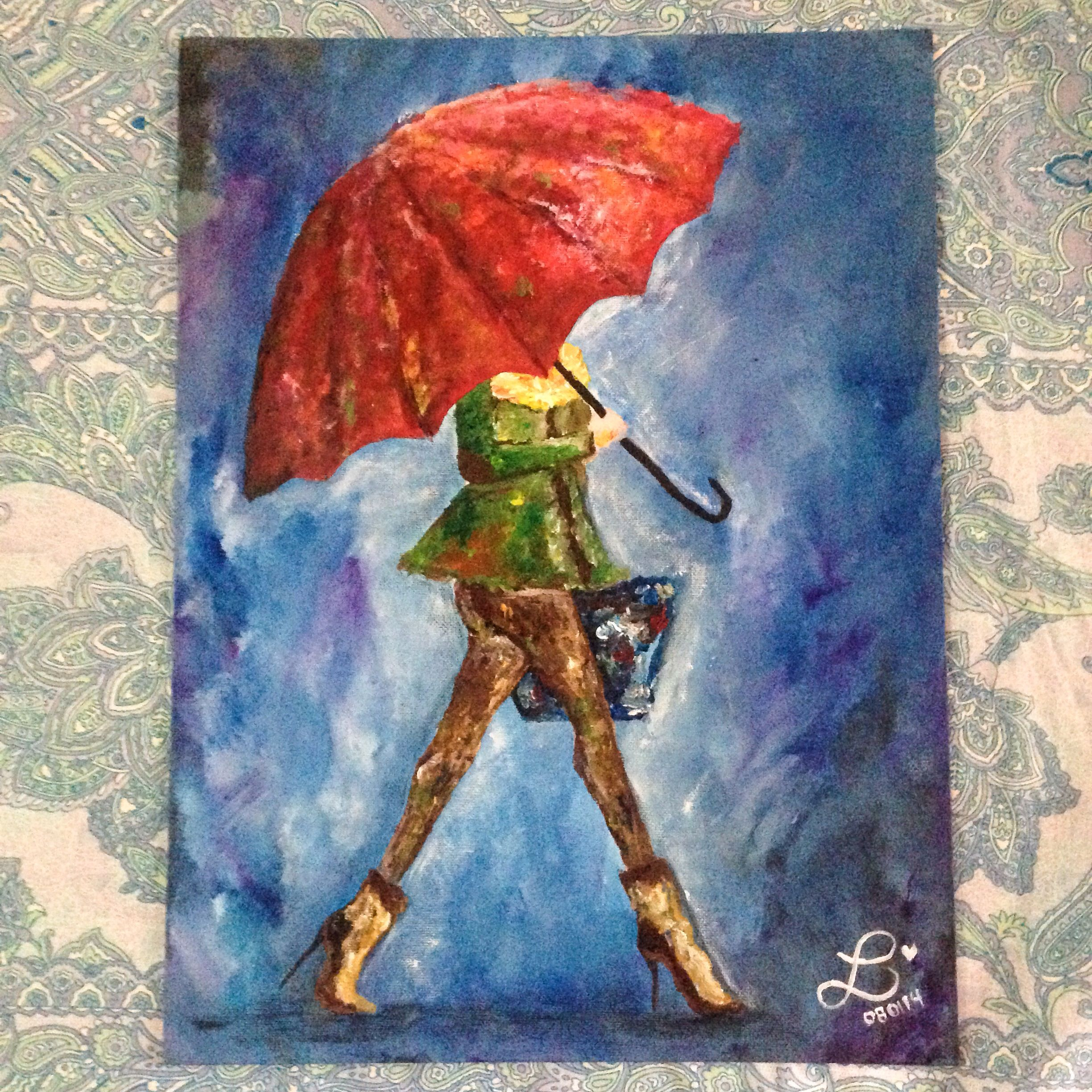 Girl with a red umbrella. Acrylic on 10x12 canvas. For inquiries ...