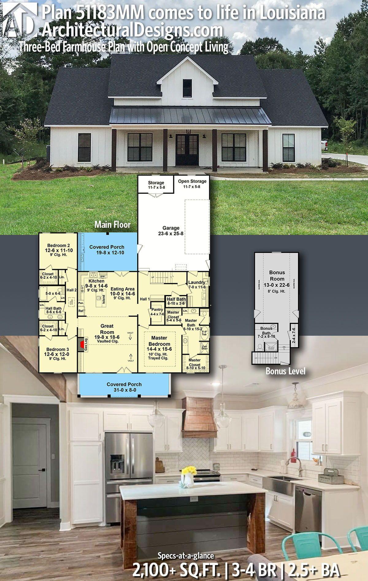 Plan 51183mm Three Bed Farmhouse Plan With Open Concept Living Farmhouse Plans New House Plans House Plans Farmhouse