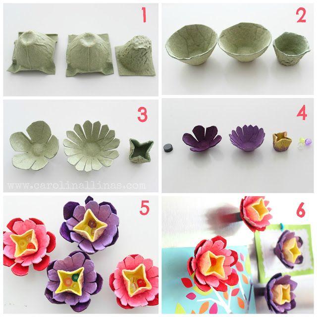 Nuestro mundo creativo imanes de flores hechas con cajas - Envases de huevos ...