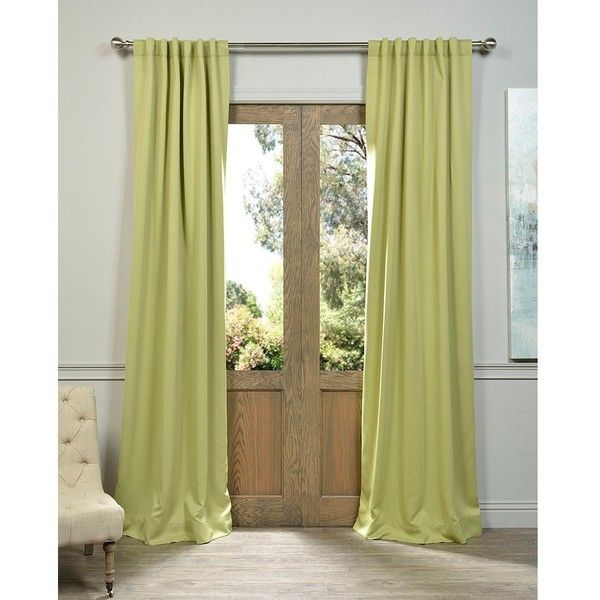 Exclusive Fabrics Blackout Thermal Lichen Green Curtain Panels ($63) ❤  Liked On Polyvore Featuring