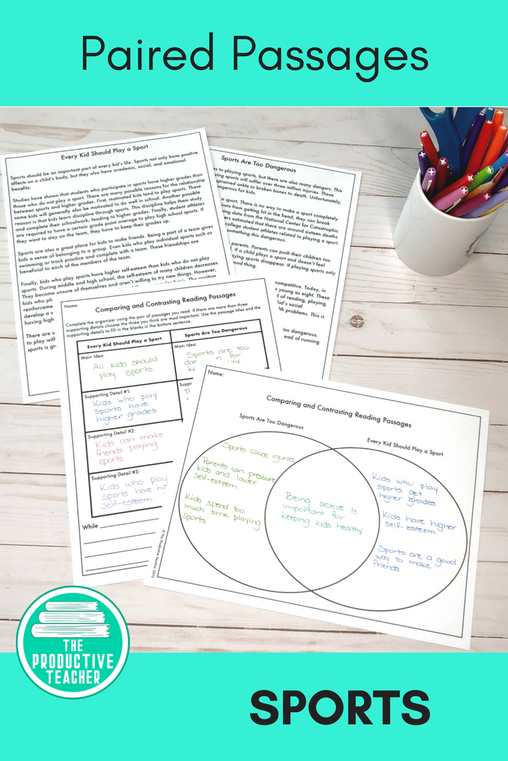 Paired Passages With Comparison Worksheets Sports Upper