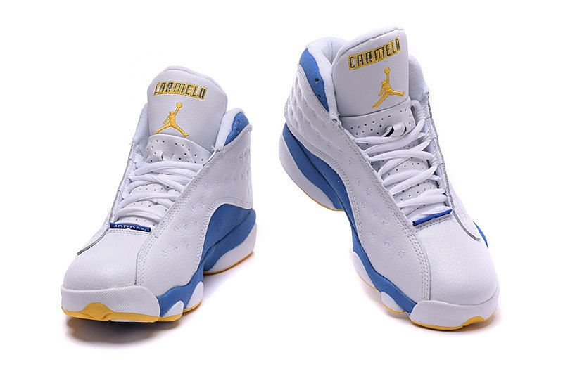 new arrivals 861a5 b73a3 Womens Nike Air Jordan 13 Carmelo Anthony White Blue Yellow