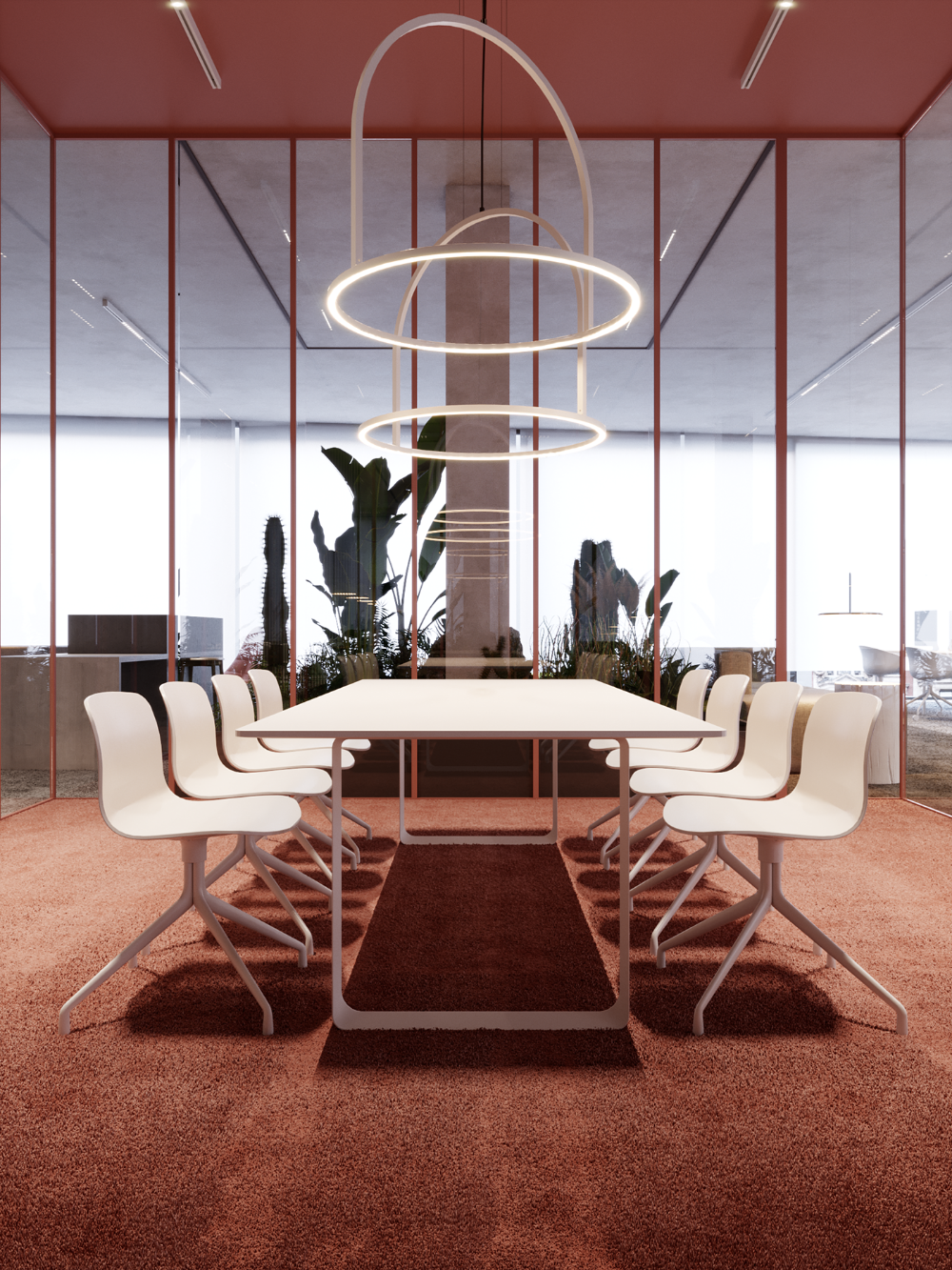 This Commercial Design And Office Space Is Unique With The Modern Lighting The Space Also H In 2020 Unique Office Furniture Office Interior Design Meeting Room Design