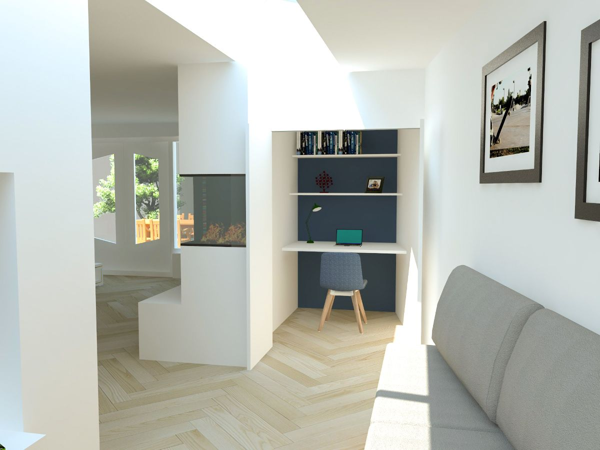 D visualisatie van aanbouw met maatwerk meubels kast met inbouw