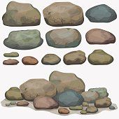 Rock stone set cartoon. Multicolored Stones and rocks in isometric 3d…