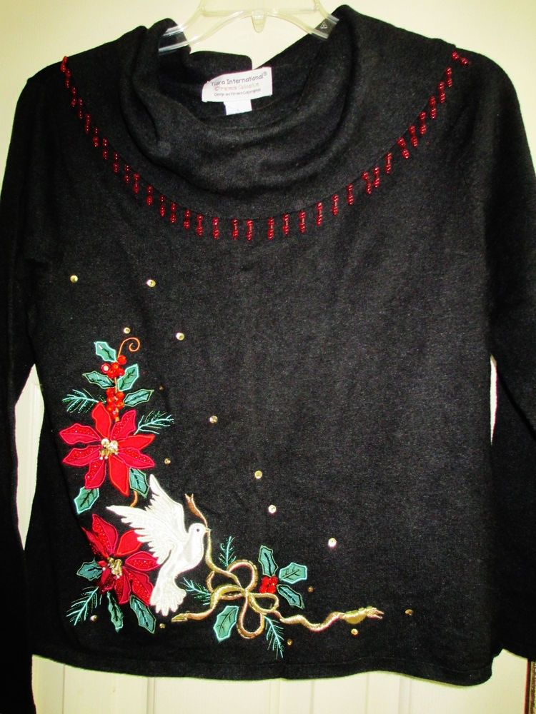 pretty poinsettia dove christmas sweater large tiara intnl tiarainternational cowlneck