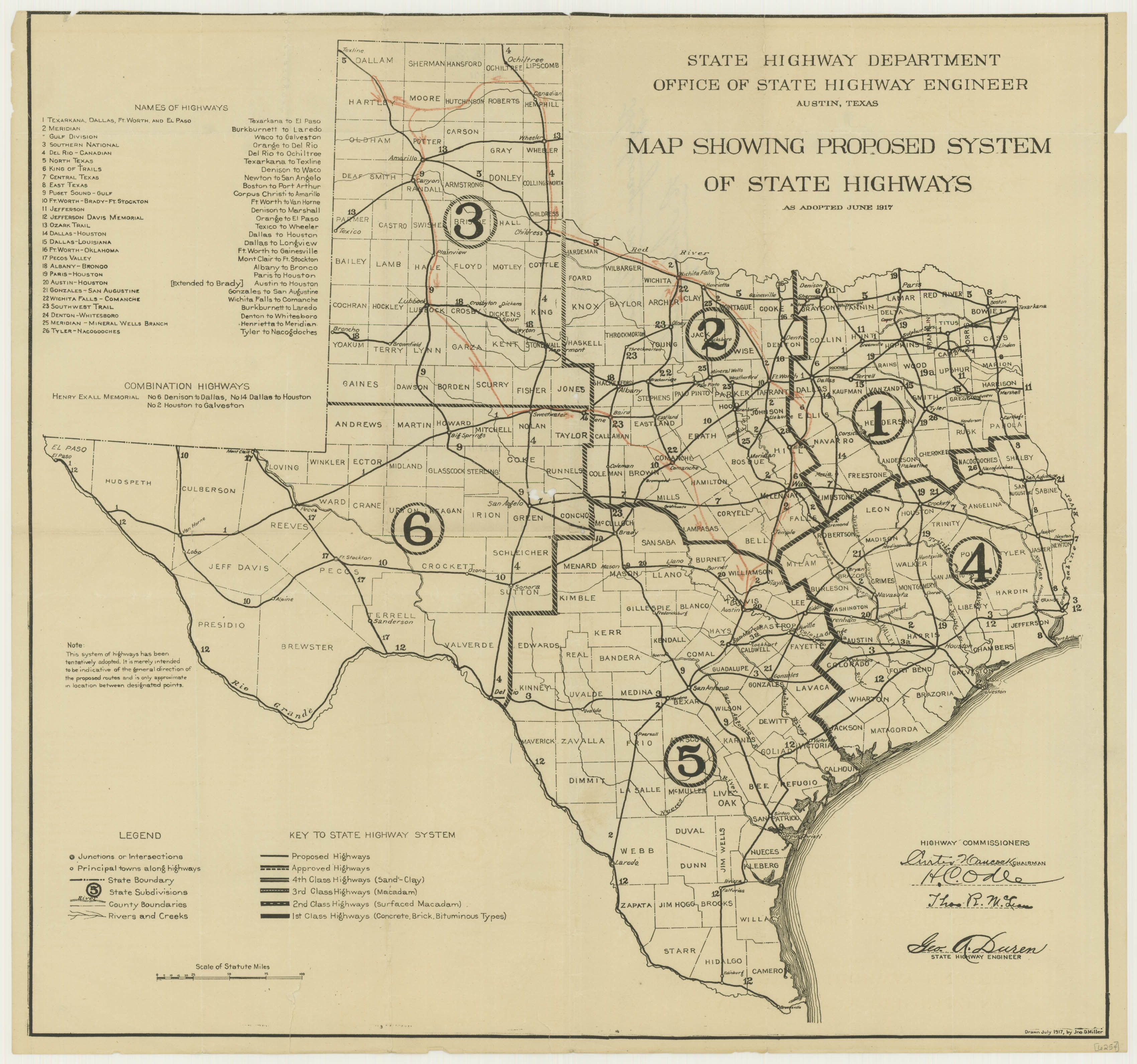 map showing proposed system of state highways 1917 texas texas state archives map number 6254