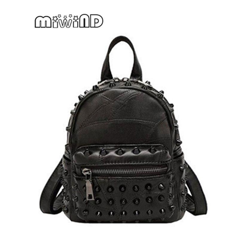 cc42e6d492d7 Bag · Famous Brand 100% Genuine Leather Women Backpacks Sheepskin Daily  Backpack Girl School Bag Rivet Travel