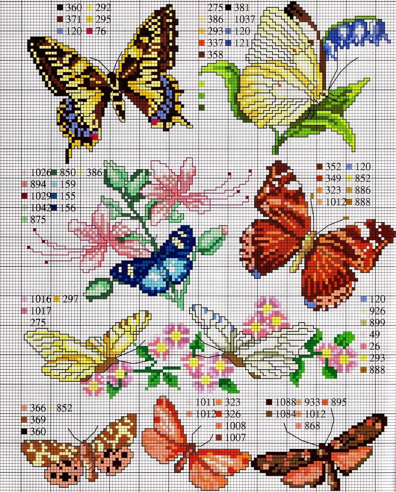 Ricami e schemi a punto croce gratuiti tante farfalle da for Farfalle a punto croce