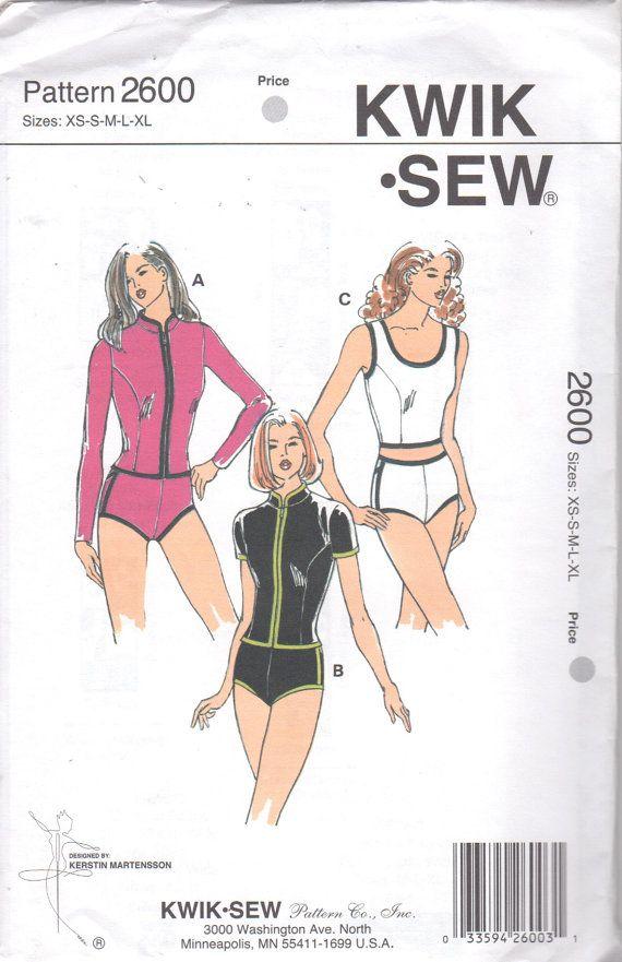 Kwik Sew 2600 Misses Two Piece Swimsuit Tankini Pattern Shorts ...