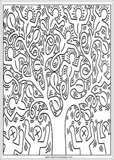 Tree Of Life Keith Haring Printable Adults Coloring Pages