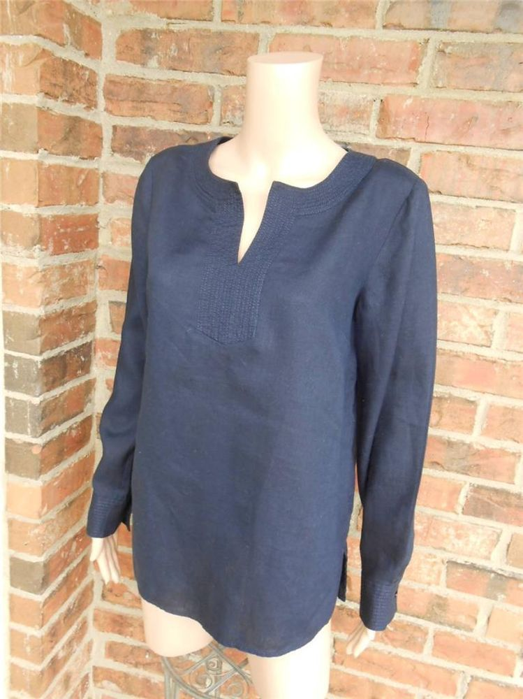 cd3f51e38c4ee6 TALBOTS 100% Linen Blouse Size S Women Shirt Top Long Sleeve Navy Blue   Talbots  Blouse  Casual