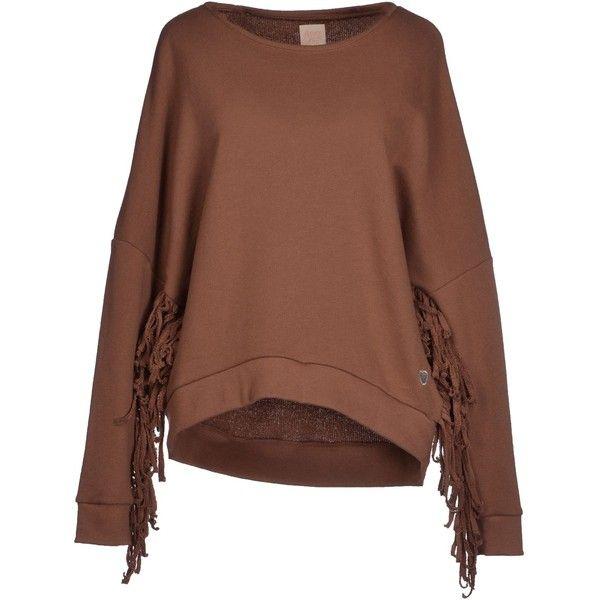 Apple_píe Sweatshirt ($27) ❤ liked on Polyvore featuring tops, hoodies, sweatshirts, brown, fringe top, long sleeve cotton tops, long sleeve sweatshirt, logo sweatshirts and brown fringe top