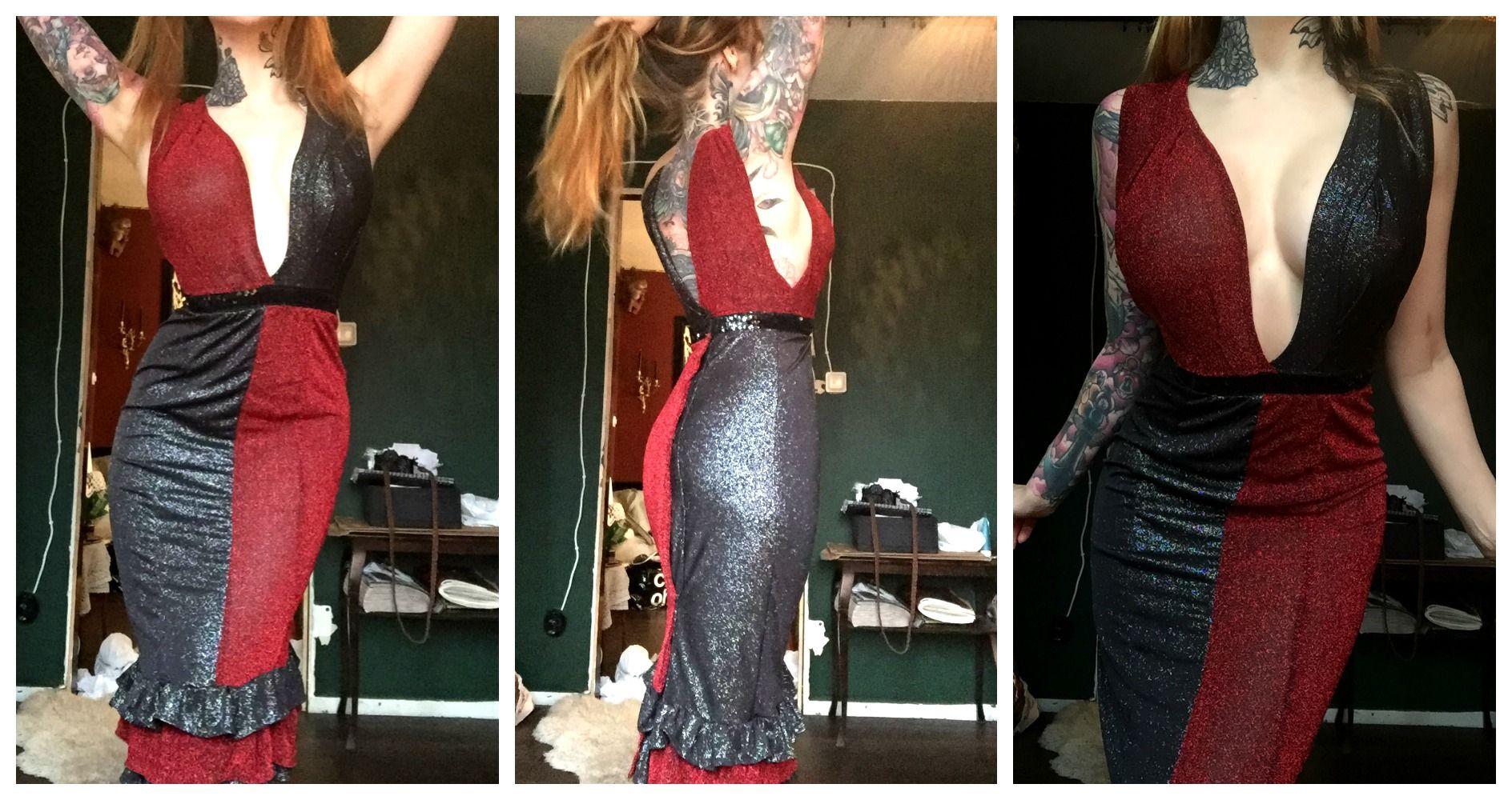 Harley quinn inspired burlesque dress for stripping opens in back