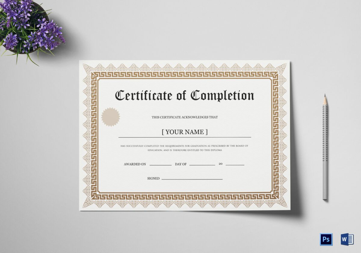 Bachelor Degree Completion Certificate Template With Graduation Certificate Template Wo Graduation Certificate Template Certificate Templates Degree Completion
