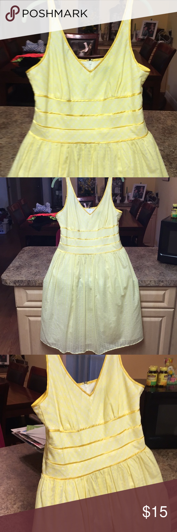 Spring Fling Size 12p Canary Yellow White Dress Yellow And White Dress Tank Top Fashion Clothes Design [ 1740 x 580 Pixel ]