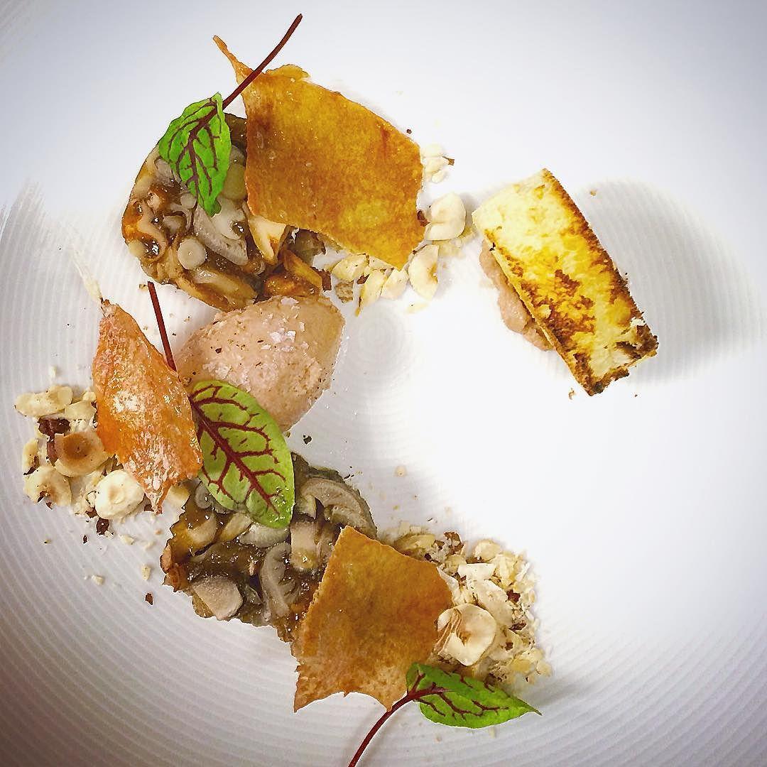 Appy feature tonight @blinkrestaurant . Wild mixed mushroom terrine foie gras mousse crunchy chicken skin toasted hazelnuts sherry#friday#night#service#blinkrestaurant#gastroart#gastropost#gastropostyyc#yyc#yyceats#yycfood#food#foodporn#instafood#instagood#instachef#chefsofinstagram#cheflife#chefstalk#chefsteps#theartofplating#tastefullyartistic#dowhatyoulove#lovewhatyoudo#keepitcrunchy by ramakin_skyrider