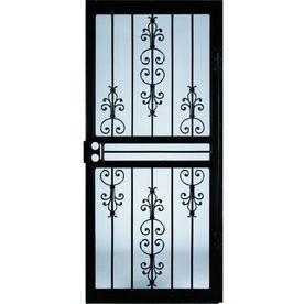 LARSON Garden View Black Steel Security Door (Common: 32 In X 81