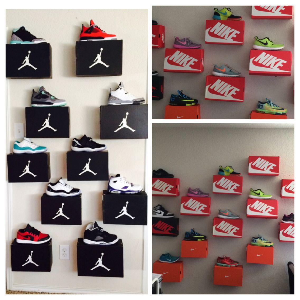 Shoe Box Shelves All You Need Is 3 4 Thumbtacks A Box Holiday Decor Box Shelves Shoe Box