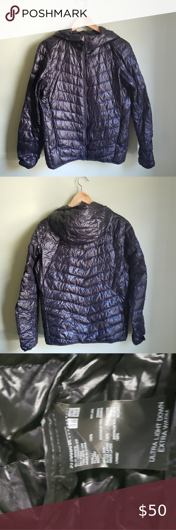 Uniqlo Puffer Down Jacket Packable Black Light in 2020