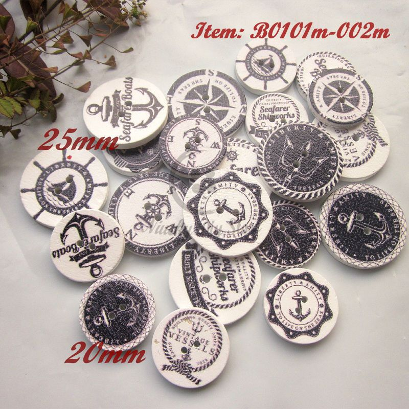 Wooden Round Buttons Anchor pattern 2-holes Sewing scrapbooking craft 20mm