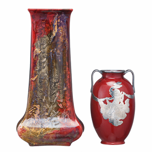 Elongated Square Royal Doulton Vase And A Royal Doulton Red And