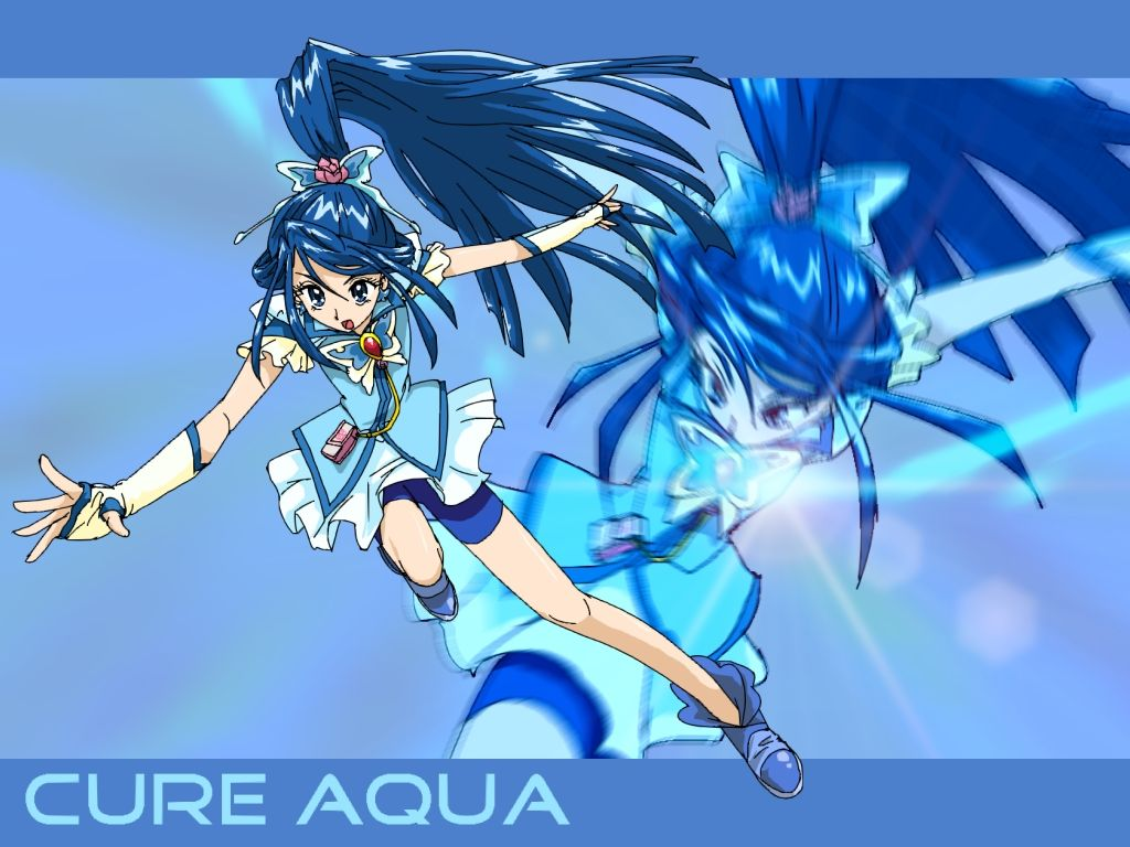 #BikeShorts, #Blue, #BlueBackground, #BlueEyes, #BlueHair, #ButterflyHairOrnament, #CharacterName, #CureAqua, #FingerlessGloves, #FuchiMinoru, #Gloves, #HairOrnament, #LongHair, #MagicalGirl, #MinazukiKaren, #Ponytail, #Precure, #Shoes, #ShortsUnderSkirt, #Skirt, #YesPrecure