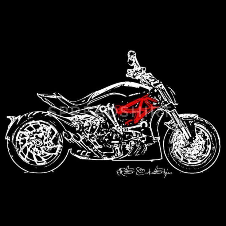 Duc X Diavel Individuelles T-Shirt Design Motorrad Damen Bio-T-Shirt mit V-Aussc…