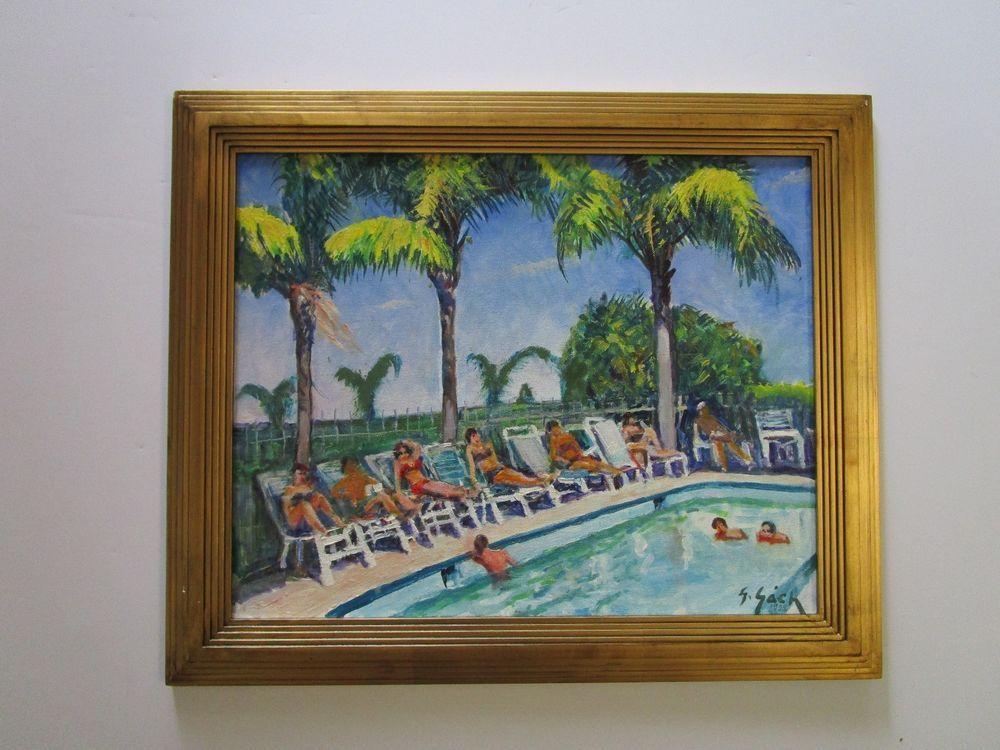 LISTED ARTIST GACH PAINTING FLORIDA COASTAL SUNNY