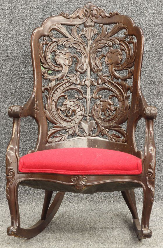 Victorian era carved mahogany rocking chair. - Victorian Era Carved Mahogany Rocking Chair. French Country , Chic