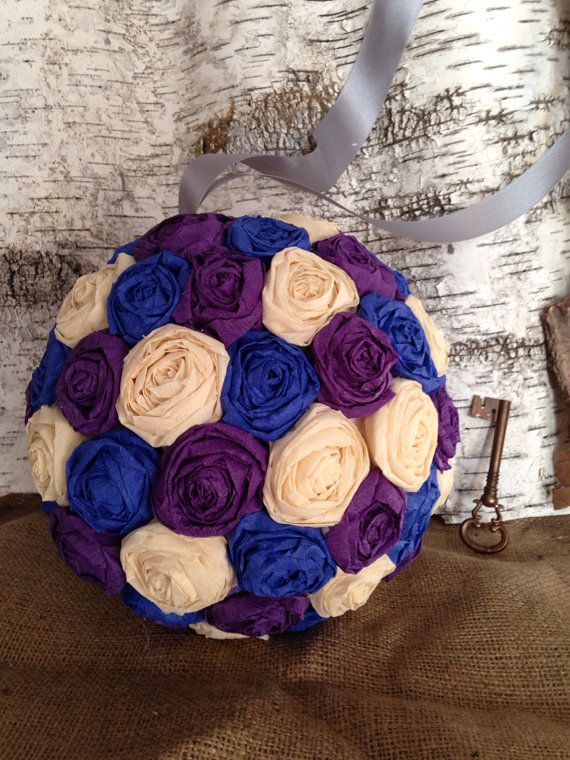 Multicolored paper flower pomander great for weddings birthdays multicolored paper rose flower pomander hanging kissing balls crepe by foundserendipity on etsy mightylinksfo